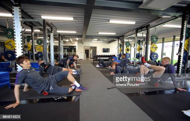 Ki SungYueng and Oliver McBurnie work out in the gym during the Swansea City Training at The Fairwood Training Ground on May 18 2017 in Swansea Wales