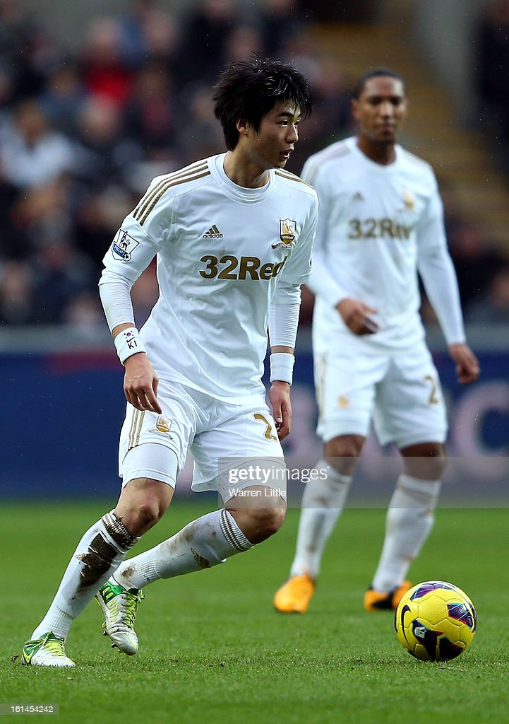 Ki Sung-Yueng of Swansea City during the Premier League match between Swansea City and Queens Park Rangers at Liberty Stadium on February 9, 2013 in Swansea, Wales.
