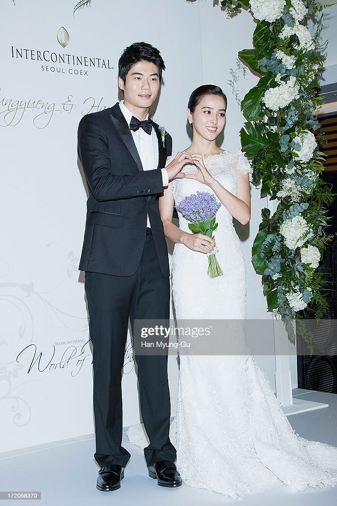 Ki Sung-Yueng of Swansea City poses for media prior to his wedding with bride Han Hye-Jin at COEX Intercontinental Hotel on June 2, 2013 in Seoul, South Korea. on July 1, 2013 in Seoul, South Korea.
