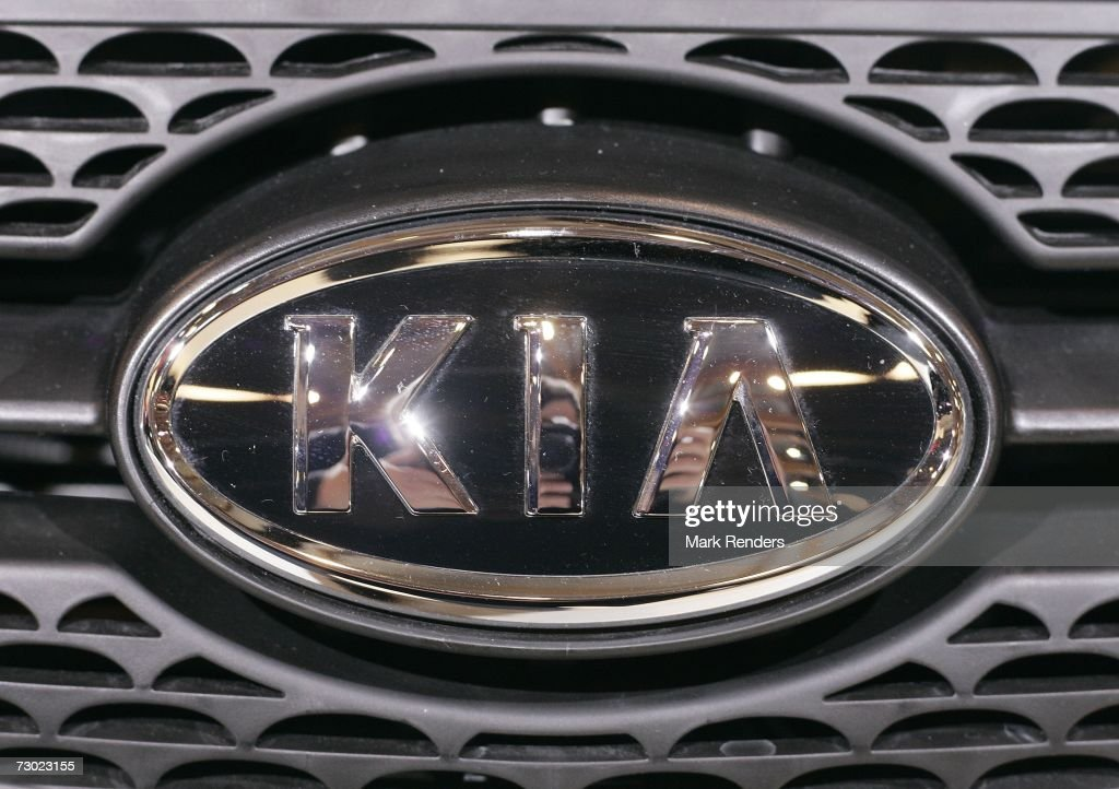Kia branding is seen at the Brussels Car Fair one of Europe's largest car fairs on January 16 2007 in Brussels Belgium