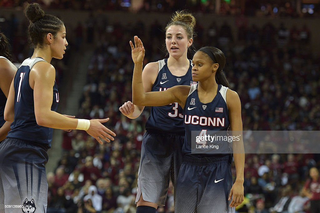 Kia Nurse #11, Katie Lou Samuelson #33 and <a gi-track='captionPersonalityLinkClicked' href=/galleries/search?phrase=Moriah+Jefferson&family=editorial&specificpeople=9082577 ng-click='$event.stopPropagation()'>Moriah Jefferson</a> #4 of the Connecticut Huskies react during their game against the South Carolina Gamecocks at Colonial Life Arena on February 8, 2016 in Columbia, South Carolina. UConn defeated South Carolina 66-54.