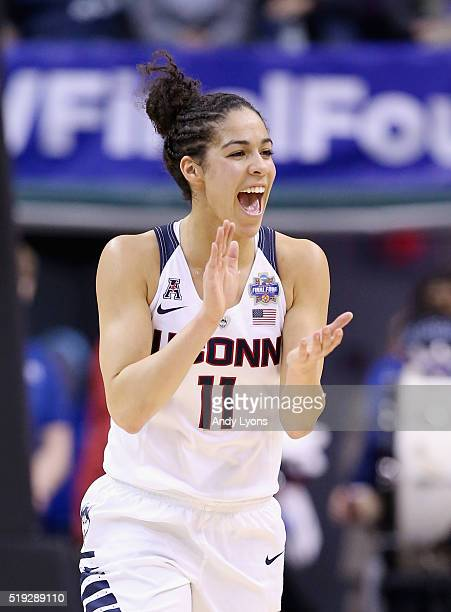 Kia Nurse of the Connecticut Huskies cheers in the second quarter against the Syracuse Orange during the championship game of the 2016 NCAA Women's...