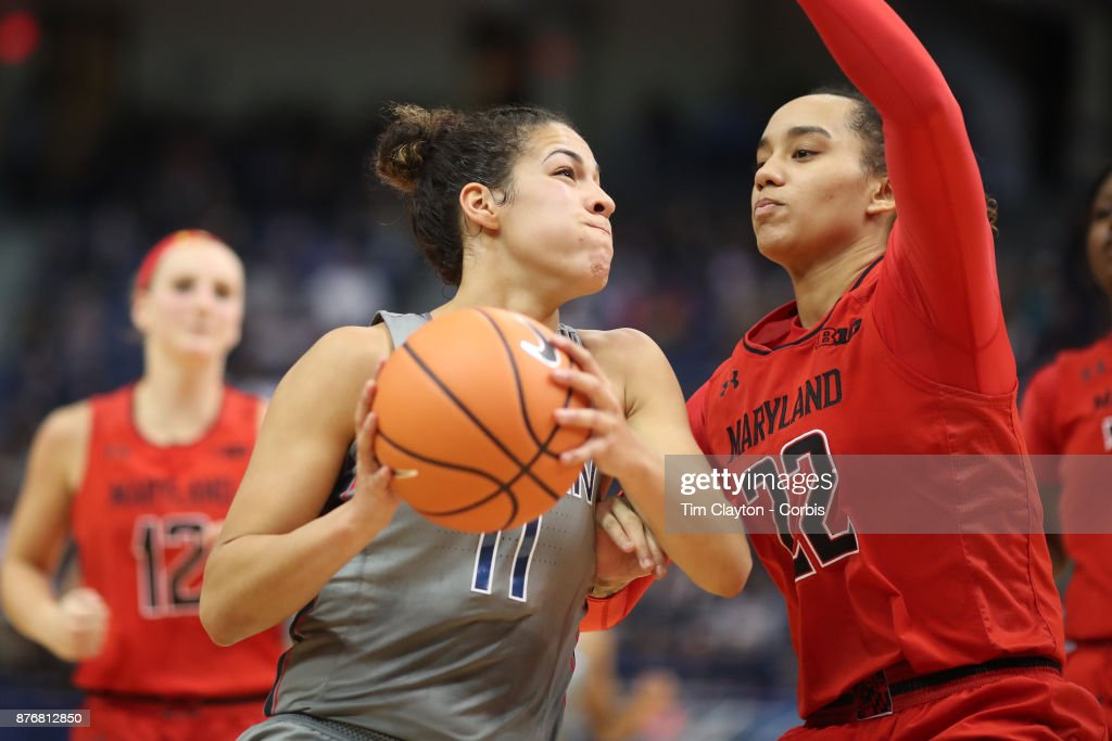 Kia Nurse #11 of the Connecticut Huskies drives to the basket defended by Blair Watson #22 of the Maryland Terrapins during the the UConn Huskies Vs Maryland Terrapins, NCAA Women's Basketball game at the XL Center, Hartford, Connecticut. November 19th, 2017