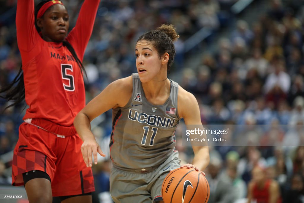 Kia Nurse #11 of the Connecticut Huskies drives to the basket defended by Kaila Charles #5 of the Maryland Terrapins during the the UConn Huskies Vs Maryland Terrapins, NCAA Women's Basketball game at the XL Center, Hartford, Connecticut. November 19th, 2017