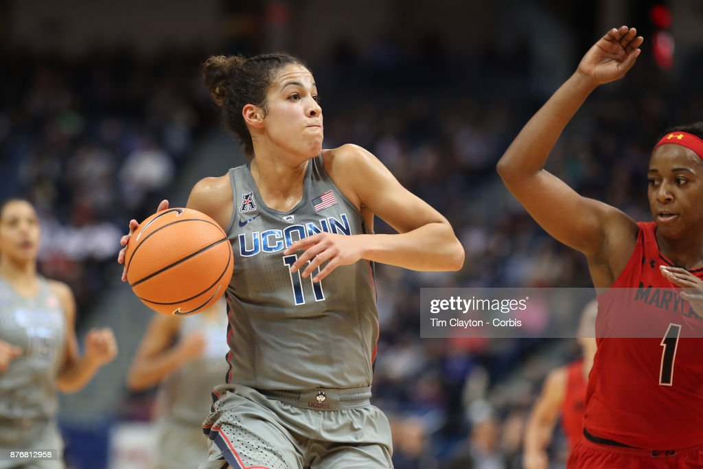 Kia Nurse #11 of the Connecticut Huskies drives to the basket defended by Ieshia Small #1 of the Maryland Terrapins during the the UConn Huskies Vs Maryland Terrapins, NCAA Women's Basketball game at the XL Center, Hartford, Connecticut. November 19th, 2017