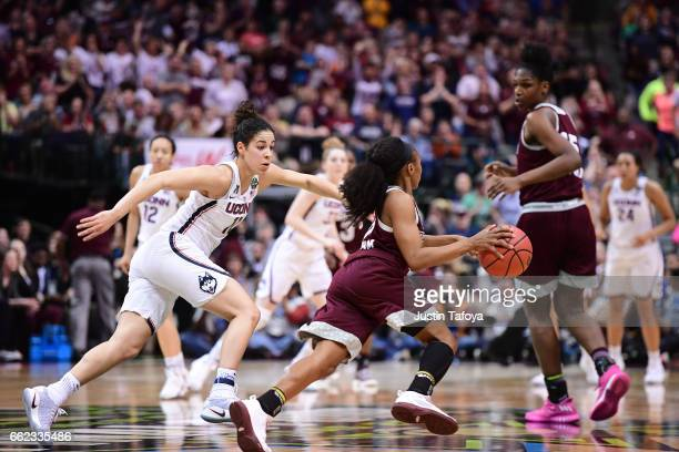 Kia Nurse of the Connecticut Huskies guards Morgan William of the Mississippi State Lady Bulldogs during the 2017 NCAA Women's Final Four at American...