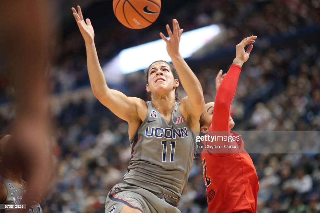 Kia Nurse #11 of the Connecticut Huskies rebounds while challenged by Blair Watson #22 of the Maryland Terrapins during the the UConn Huskies Vs Maryland Terrapins, NCAA Women's Basketball game at the XL Center, Hartford, Connecticut. November 19th, 2017