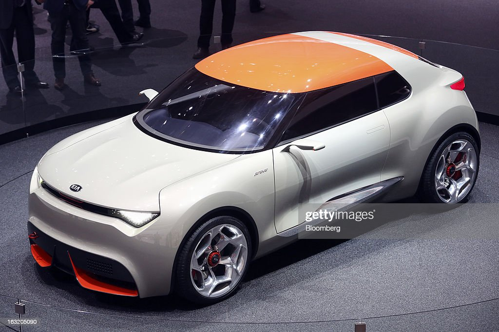 A Kia Provo concept automobile, produced by Kia Motors Corp., is seen on display on the second day of the 83rd Geneva International Motor Show in Geneva, Switzerland, on Wednesday, March 6, 2013. This year's show opens to the public on Mar. 7, and is set to feature more than 100 product premiers from the world's automobile manufacturers. Photographer: Chris Ratcliffe/Bloomberg via Getty Images