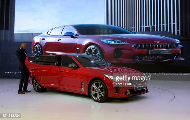 Kia Stinger is seen during Dubai Motor Show at Dubai World Trade Centre on November 15 2017 in Dubai United Arab Emirates