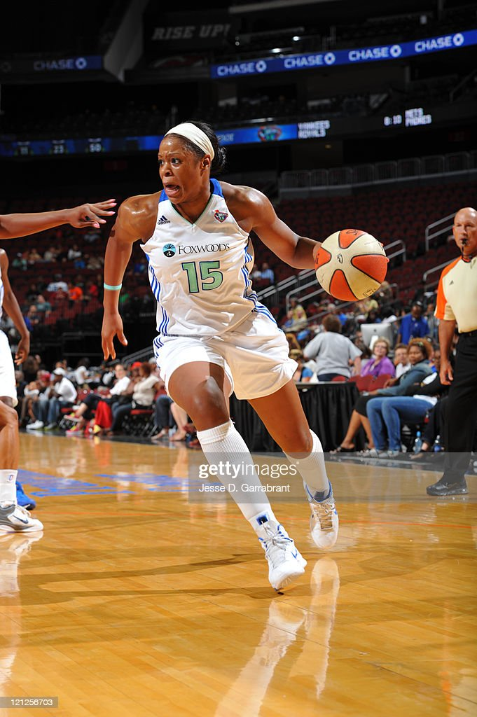 Kia Vaughn of the New York Liberty drives against the Washington Mystics during a game on August 16 2011 at the Prudential Center in Newark New...