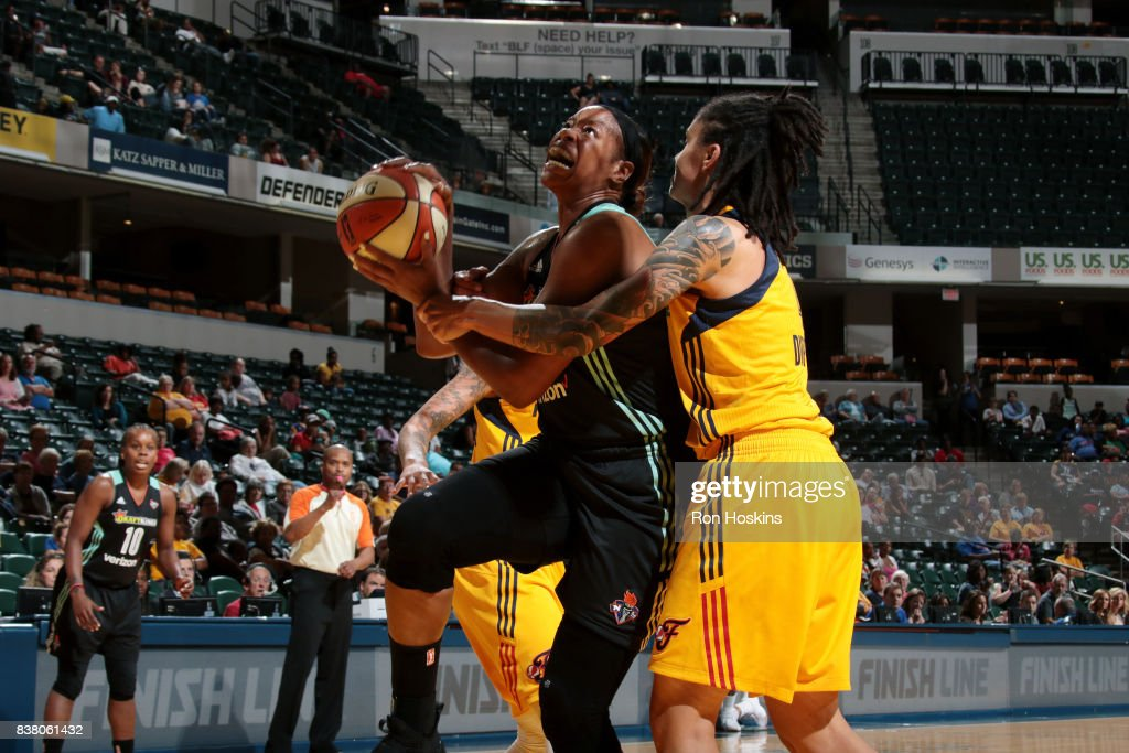 Kia Vaughn #7 of the New York Liberty goes for a lay up during the game against the Indiana Fever during a WNBA game on August 23, 2017 at Bankers Life Fieldhouse in Indianapolis, Indiana.