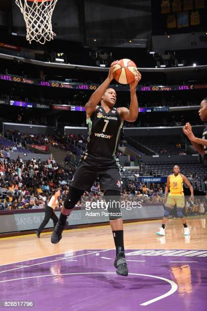 Kia Vaughn of the New York Liberty grabs the rebound against the Los Angeles Sparks on August 4 2017 at the STAPLES Center in Los Angeles California...