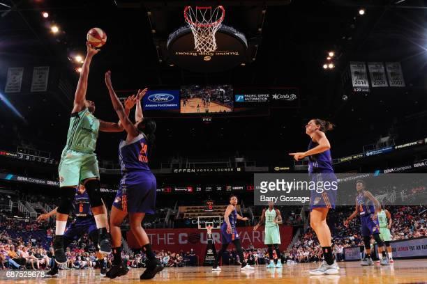 Kia Vaughn of the New York Liberty grabs the rebound against the Phoenix Mercury on May 23 2017 at Talking Stick Resort Arena in Phoenix Arizona NOTE...