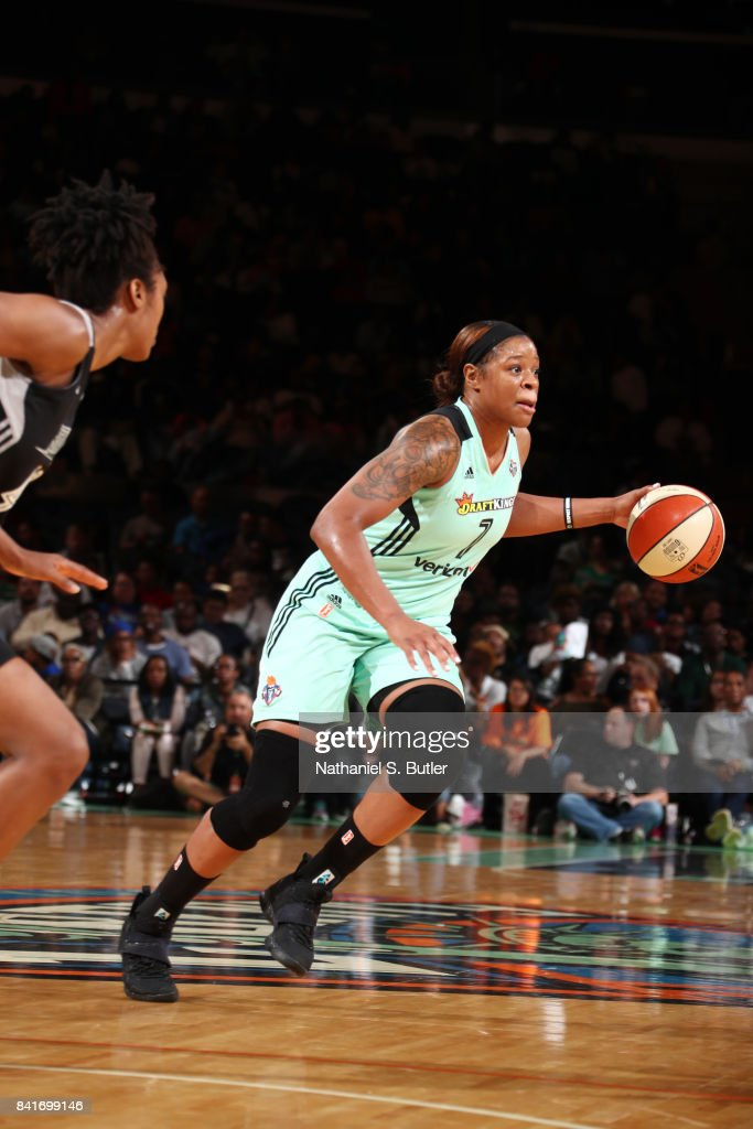 Kia Vaughn #7 of the New York Liberty handles the ball against the San Antonio Stars on September 1, 2017 at Madison Square Garden in New York, New York.