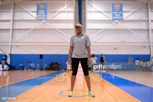 Kia Vaughn of the New York Liberty helps host a WNBA FIT Clinic on August 15 2017 at the Madison Square Garden Training Facility in Tarrytown New...