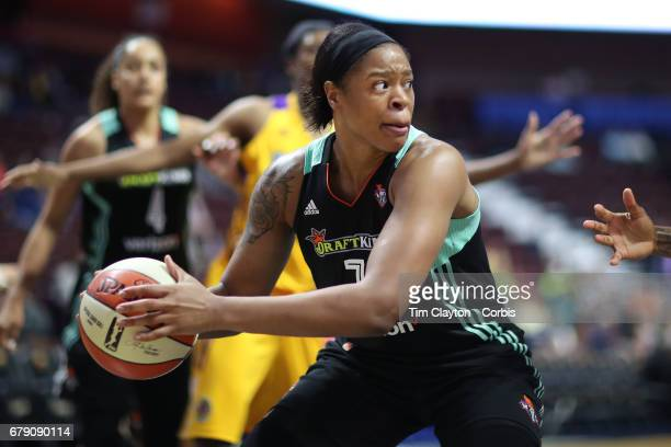 Kia Vaughn of the New York Liberty in action during the Los Angeles Sparks Vs New York Liberty WNBA pre season game at Mohegan Sun Arena on May 2...