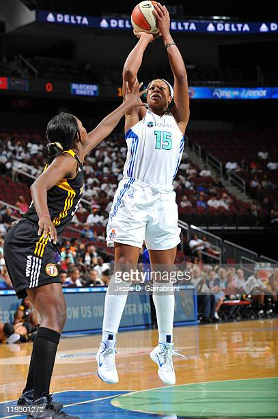 Kia Vaughn of the New York Liberty shoots against the Tulsa Shock during a game on July 17 2011 at the Prudential Center in Newark New Jersey NOTE TO...