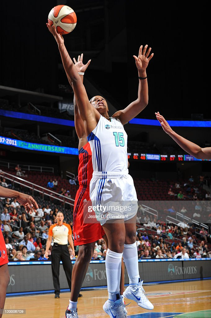 Kia Vaughn of the New York Liberty shoots against the Washington Mystics during a game on July 28 2011 at the Prudential Center in Newark New Jersey...