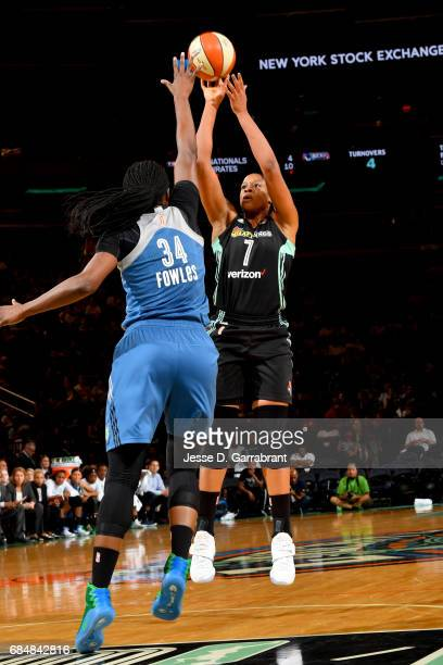 Kia Vaughn of the New York Liberty shoots the ball against the Minnesota Lynx on May 18 2017 at Madison Square Garden in New York City New York NOTE...