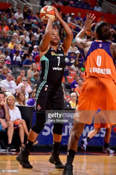 Kia Vaughn of the New York Liberty shoots the ball against the Phoenix Mercury on July 9 2017 at Talking Stick Resort Arena in Phoenix Arizona NOTE...