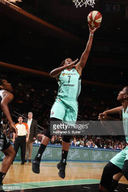 Kia Vaughn of the New York Liberty shoots the ball against the San Antonio Stars on September 1 2017 at Madison Square Garden in New York New York...