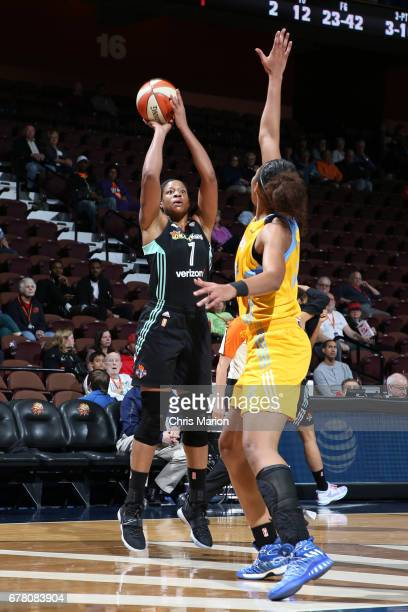 Kia Vaughn of the New York Liberty shoots the ball during a game against the Chicago Sky on May 3 2017 at Mohegan Sun Arena in Uncasville Connecticut...