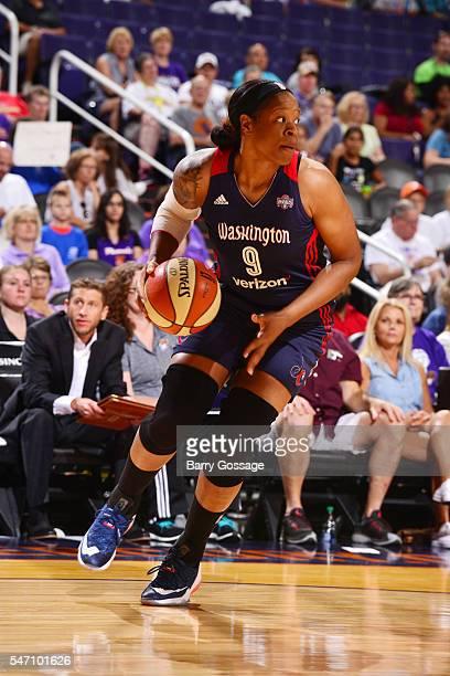 Kia Vaughn of the Washington Mystics drives to the basket against the Phoenix Mercury on July 13 2016 at Talking Stick Resort Arena in Phoenix...