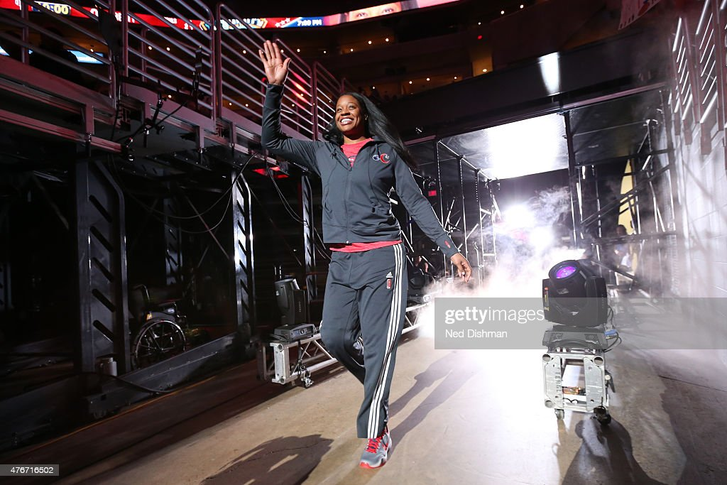 Kia Vaughn of the Washington Mystics gets introduced before a game against the New York Liberty on June 6 2015 at the Verizon Center in Washington DC...