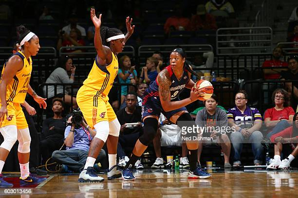 Kia Vaughn of the Washington Mystics handles the ball against the Indiana Fever on September 11 2016 at the Verizon Center in Washington DC NOTE TO...