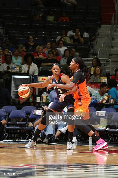 Kia Vaughn of the Washington Mystics handles the ball against the Connecticut Sun on September 18 2016 at the Verizon Center in Washington DC NOTE TO...