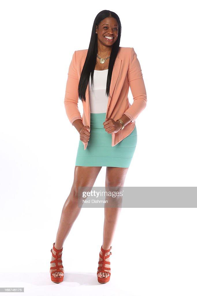 Kia Vaughn of the Washington Mystics poses for a photo during 2013 Washington Mystics media day at the Verizon Center on May 9 2013 in Washington DC...