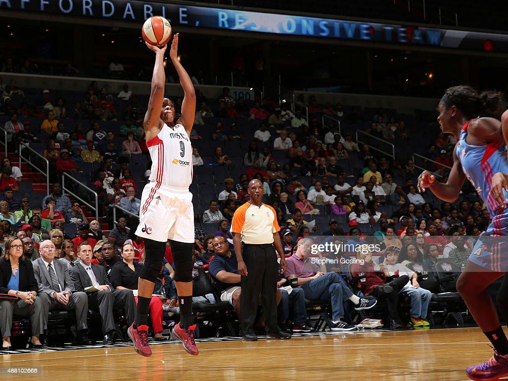 Kia Vaughn of the Washington Mystics shoots the ball against the Atlanta Dream on September 13 2015 at the Verizon Center in Washington DC NOTE TO...