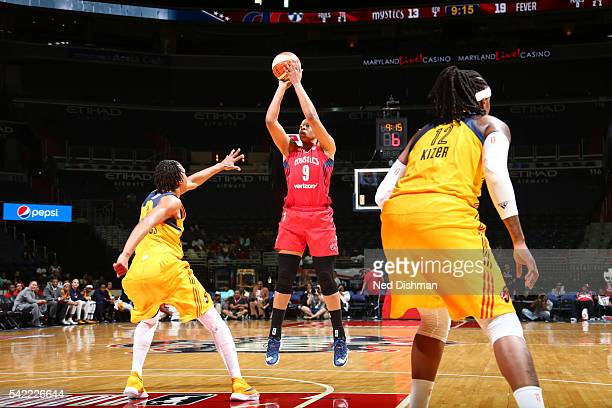 Kia Vaughn of the Washington Mystics shoots the ball against the Indiana Fever on June 22 2016 at the Verizon Center in Washington DC NOTE TO USER...