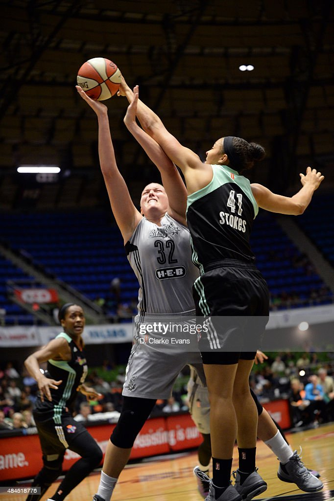 <a gi-track='captionPersonalityLinkClicked' href=/galleries/search?phrase=Kiah+Stokes&family=editorial&specificpeople=8615620 ng-click='$event.stopPropagation()'>Kiah Stokes</a> #41 of the New York Liberty blocks the shot of Jayne Appel #32 of the San Antonio Stars on August 19, 2015 at the Freeman Coliseum in San Antonio, Texas.