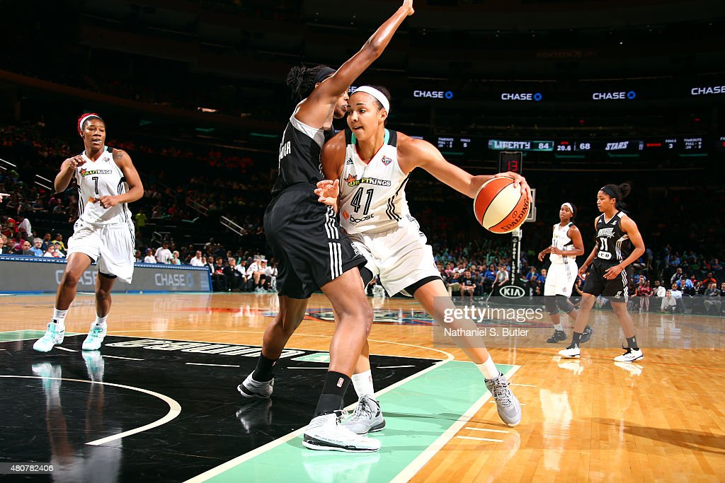<a gi-track='captionPersonalityLinkClicked' href=/galleries/search?phrase=Kiah+Stokes&family=editorial&specificpeople=8615620 ng-click='$event.stopPropagation()'>Kiah Stokes</a> #41 of the New York Liberty drives against the San Antonio Stars on July 15, 2015 at Madison Square Garden in New York City, NY.