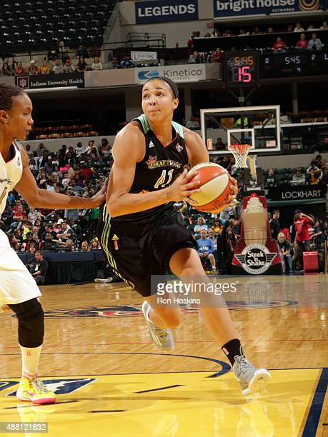 Kiah Stokes of the New York Liberty drives to the basket against the Indiana Fever on September 13 2015 in Indianapolis Indiana NOTE TO USER User...