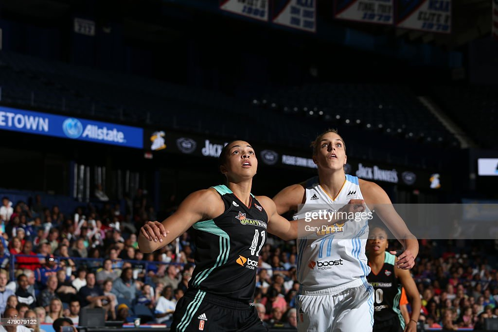 <a gi-track='captionPersonalityLinkClicked' href=/galleries/search?phrase=Kiah+Stokes&family=editorial&specificpeople=8615620 ng-click='$event.stopPropagation()'>Kiah Stokes</a> #41 of the New York Liberty fights for position against <a gi-track='captionPersonalityLinkClicked' href=/galleries/search?phrase=Elena+Delle+Donne&family=editorial&specificpeople=5042380 ng-click='$event.stopPropagation()'>Elena Delle Donne</a> #11 of the Chicago Sky on June 30, 2015 at Allstate Arena in Rosemont, Illinois.