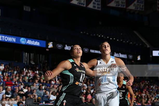Kiah Stokes of the New York Liberty fights for position against Elena Delle Donne of the Chicago Sky on June 30 2015 at Allstate Arena in Rosemont...