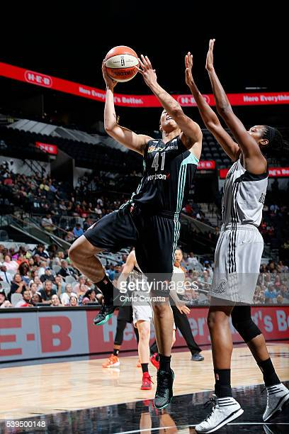 Kiah Stokes of the New York Liberty goes for the layup during the game against the San Antonio Stars on June 11 2016 at the ATT Center in San Antonio...