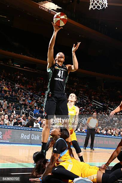Kiah Stokes of the New York Liberty goes to the basket against the Chicago Sky on June 24 2016 at Madison Square Garden in New York City NOTE TO USER...