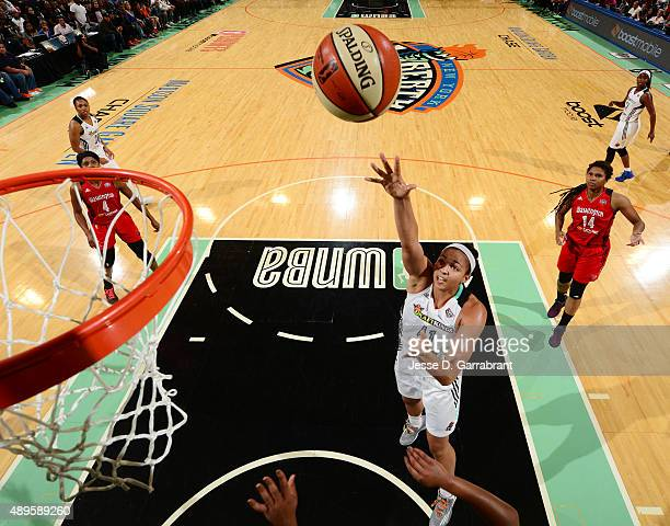 Kiah Stokes of the New York Liberty goes up for the layup against the Washington Mystics during game One of the WNBA SemiFinals at Madison Square...