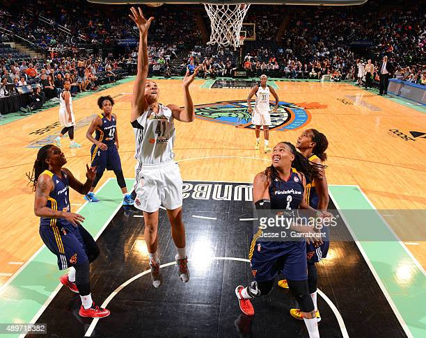 Kiah Stokes of the New York Liberty goes up for the layup against the Indiana Fever during game One of the WNBA Eastern Conference Finals at Madison...