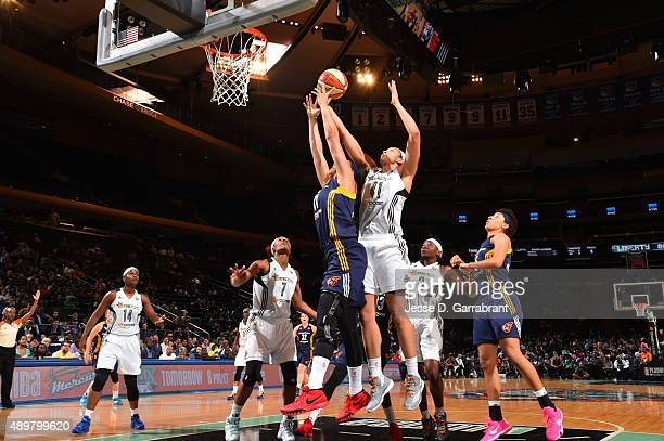Kiah Stokes of the New York Liberty grabs the rebound against the New York Liberty in Game One of the WNBA Eastern Conference Finals at Madison...
