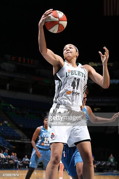 Kiah Stokes of the New York Liberty grabs the rebound against the Minnesota Lynx on June 1 2015 at Target Center in Minneapolis Minnesota NOTE TO...