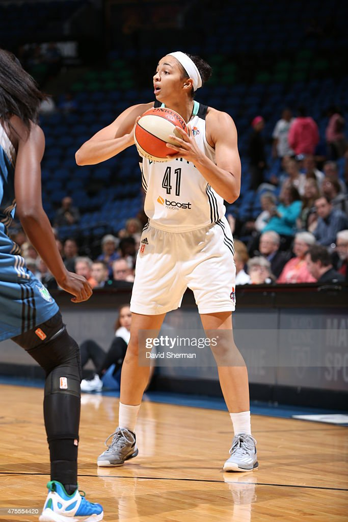 <a gi-track='captionPersonalityLinkClicked' href=/galleries/search?phrase=Kiah+Stokes&family=editorial&specificpeople=8615620 ng-click='$event.stopPropagation()'>Kiah Stokes</a> #41 of the New York Liberty handles the ball against the Minnesota Lynx on June 1, 2015 at Target Center in Minneapolis, Minnesota.