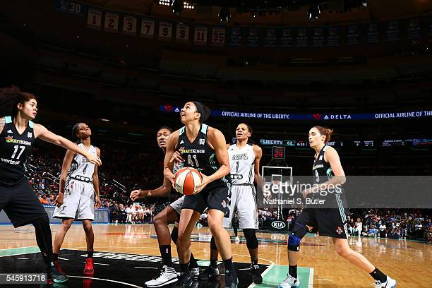 Kiah Stokes of the New York Liberty handles the ball against the San Antonio Stars on July 10 2016 at Madison Square Garden in New York New York NOTE...