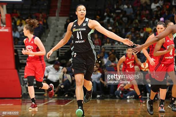 Kiah Stokes of the New York Liberty is seen during the game against the Washington Mysticson May 14 2016 at Verizon Center in Washington DC NOTE TO...