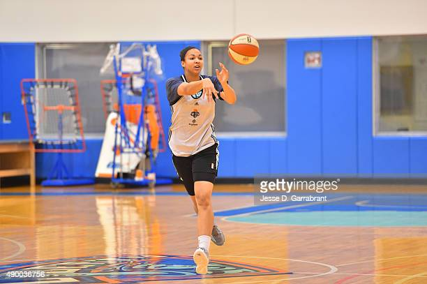 Kiah Stokes of the New York Liberty passes the ball during practice at the New York Knicks training facility on September 25 2015 in Tarrytown New...