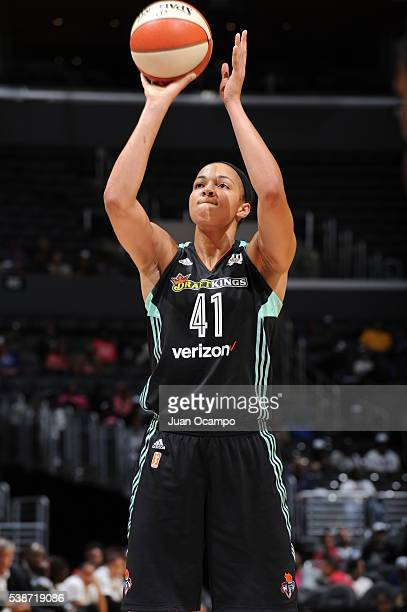 Kiah Stokes of the New York Liberty prepares to shoot a free throw against the Los Angeles Sparks on June 7 2016 at STAPLES Center in Los Angeles...