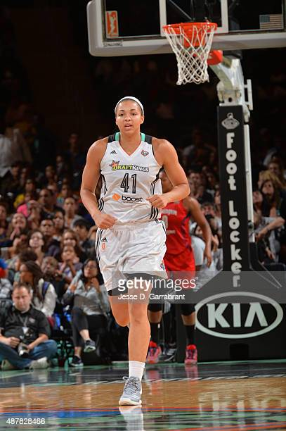 Kiah Stokes of the New York Liberty runs up the court against the Washington Mystics at Madison Square Garden on September 11 2015 in New York New...